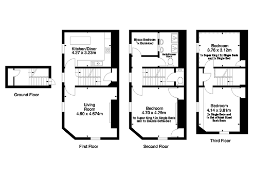 Floor plan of our Chic Georgian holiday house rental in Bath